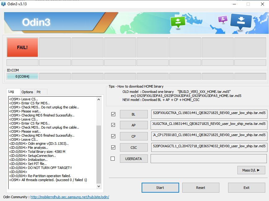 Odin - Avec Rom Samdevice - Re-partition operation failed.jpg