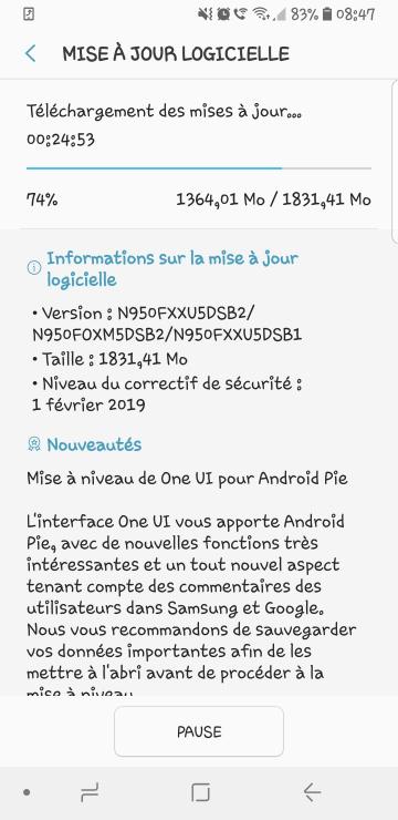[INFO BETA] Mises à jour officielles OneUI/Pie Bêta Android 9 Galaxy Note 8 SM-N950F